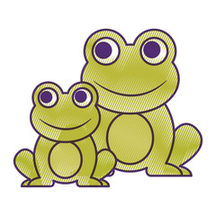 frogs cute animal sitting cartoon vector illustration drawing design