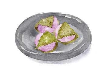 桜餅 水彩イラスト