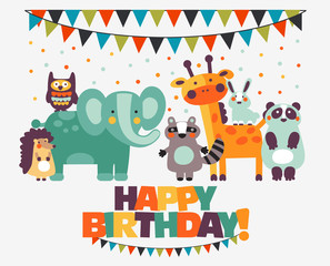 Happy birthday - lovely vector card with funny cute animals and garlands