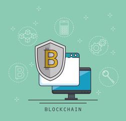 blockchain and bitcoin technology concept