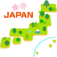 日本列島のデフォルメイラスト