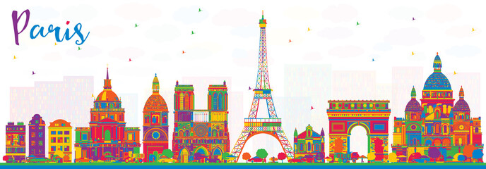 Paris France City Skyline with Color Buildings.
