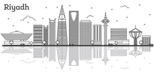 Outline Riyadh Saudi Arabia City Skyline with Modern Buildings Isolated on White.