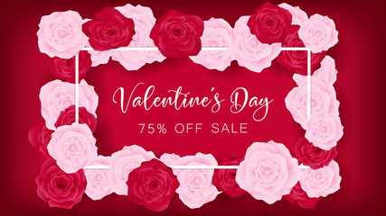 top view valentine's day invitation decorate in red background ,beside border along with pink and red rose, middle contain white valentine's day discounting text ,artwork usage in celebration or event
