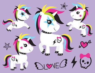 Vector illustration of cute punk unicorn rocker with skull tattoo and colorful hair.
