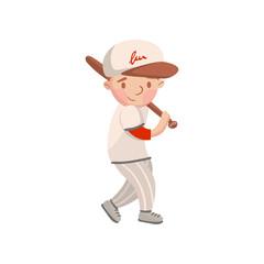 Little boy in white uniform playing baseball, kids physical activity cartoon vector Illustration