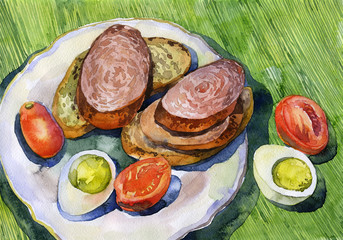 Breakfast sandwich with sausage, boiled egg, red tomato. Watercolor. Illustration