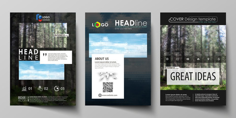 Templates for brochure, magazine, flyer, booklet or annual report. Cover design template, abstract vector layout in A4 size. Colorful background, travel business, natural landscape in polygonal style.