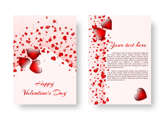 Template of a brochure in a romantic style for Valentine's Day or birthday greetings. Vector illustration