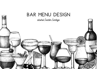 Vector design with hand drawn drinks illustration. Vintage beverages sketch background. Retro template isolated. Restaurant or cafe menu template.