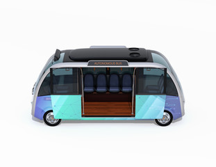 Side view of autonomous shuttle bus with opened door isolated on white background. 3D rendering image.