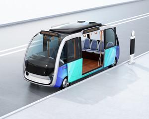 Autonomous shuttle bus waiting at bus station. 3D rendering image.