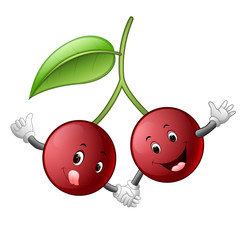 cute cherry with face