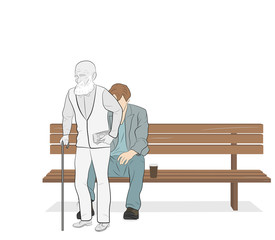 the young man sits on a bench and gets up old. concept of human life. vector illustration. aging process.