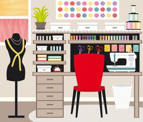 Seamstress's office. Dressmaker. Sewing illustration II.