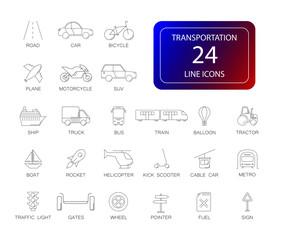Line icons set. Transportation pack. Vector illustration