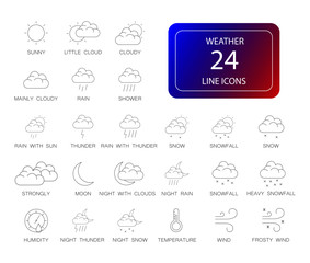 Line icons set. Weather pack. Vector illustration