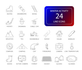 Line icons set. Winter Activity pack. Vector illustration