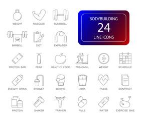 Line icons set. Bodybuilding pack. Vector illustration