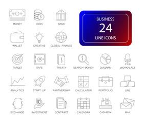 Line icons set. Business pack. Vector illustration