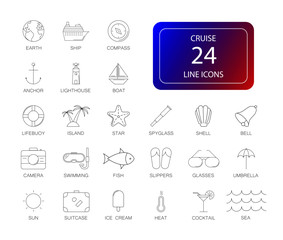 Line icons set. Cruise pack. Vector illustration