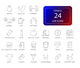 Line icons set. Fitness pack. Vector illustration