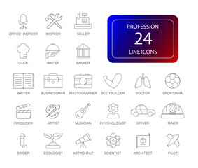 Line icons set. Profession pack. Vector illustration