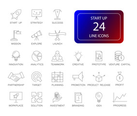Line icons set. Start up pack. Vector illustration