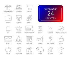 Line icons set. Supermarket pack. Vector illustration
