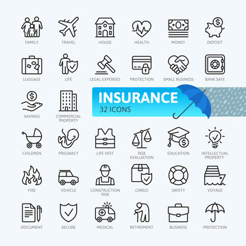Insurance elements - minimal thin line web icon set. Outline icons collection. Simple vector illustration.