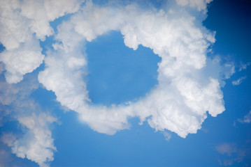 Heart shape cloud on blue sky, Valentine's day concept.
