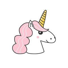 Cute doodle, hand drawn unicorn illustration, icon isolated on white background.