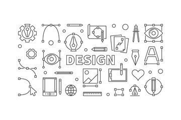 Design horizontal outline vector illustration