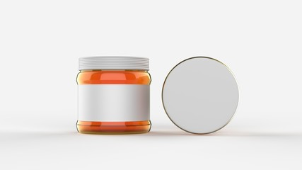 Honey in jar mock up isolated on soft gray background with white label. Small size. 3D illustrating.