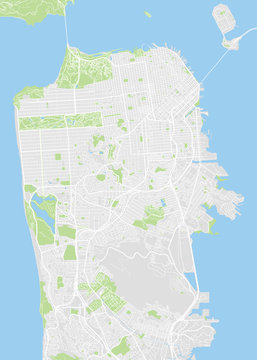San Francisco colored vector map