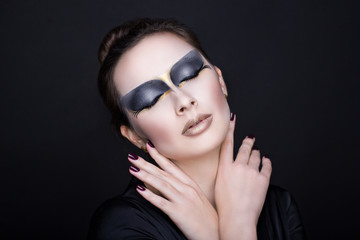 woman black make up