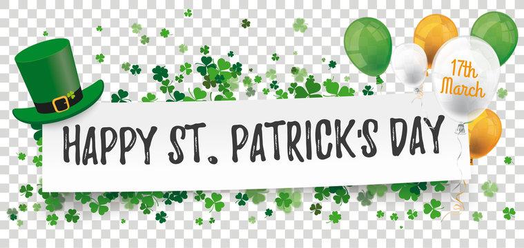 Happy St Patricks Day Paper Banner Hat Shamrocks Balloons Transparent