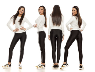 Collage of young beautiful woman in black tights, white blouse and sneakers on white background
