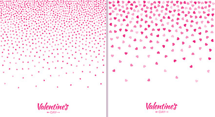Set of Valentines day card gradient  pink hearts pattern texture isolated on white background. Collection of Design backdrops for Wedding Invitation Card. Vector illustration EPS10