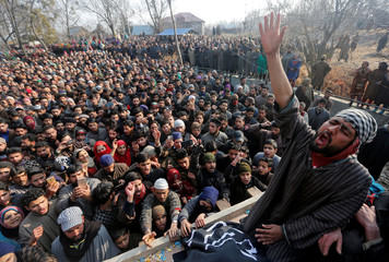 A man shouts slogans during the funeral of Sameer Ahmad Wani, a suspected militant who according to local media was killed in a gunbattle with Indian security forces on Wednesday evening, in Chaigund village in south Kashmir's Shopian