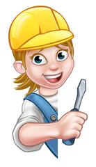 Electrician Builder Woman Cartoon Character