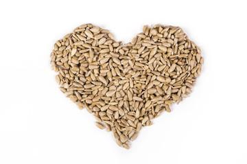 Sunflower seeds peeled heart shaped.