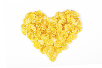 Flakes heart from cornflakes