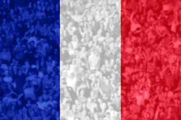 Football fans with blending France flag
