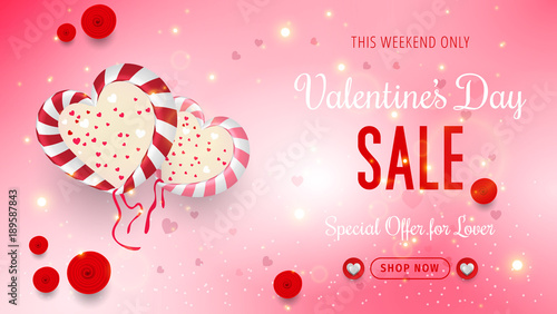 Promo Web Banner For Valentine S Day Sale Valentines Day Sale