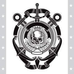 Skull front view in center rope frame with cross anchors and vertical sword. Heraldic marine vintage label isolated on white