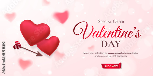Vector Horizontal Template For Sale Banner Valentines Day With Red Hearts And An Arrow