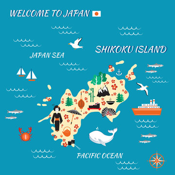 Japan cartoon travel map, vector illustration Shikoku island, japanese symbols sakura flower, decorative umbrella, fan, traditional food sushi, bamboo, kimono, touristic icons for design advertising