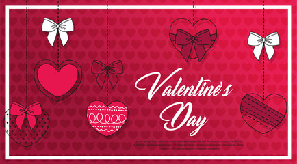 Valentine's day sale banner. Beautiful Background with hand drawn pink Hearts. Vector illustration for website , posters, email and newsletter designs, ads, coupons, promotional material.