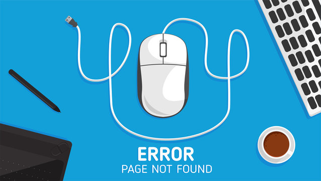404 mouse error page not found  flat vector and element about computer